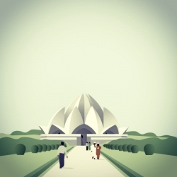 Lovely illustration of the lotus shaped Baha'i Temple in Delhi by Helen Eady.