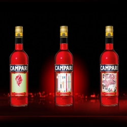 Campari Art Labels, three great label designs for Campari by the artists;  AVAF, Tobias Rehberger and Vanessa Beecroft. They are from a limited edition series created to celebrate 150 years of Campari tradition.