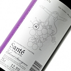 The antioxidants in wine are found in the skin, seeds and the stem of the grape. We decided to visualize this technical information through a drawing inspired by a late 1800 french botanical encyclopedia.