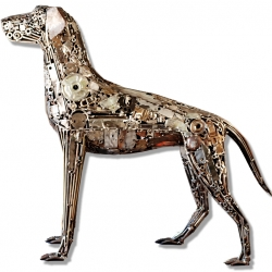 D.O.G. Done Out of Garage by Brian Mock is a life-size dog sculpture welded from entirely found industrial metal scrap.