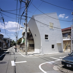 Cool tilted house design in Japan by TNA Architects