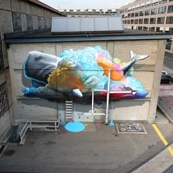 Wall painting by Nevercrew for UrbanArt Festival in Winterthur.
