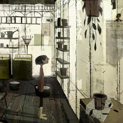 Jon Klassen worked on the visual development and drawings for sets and props for the movie 'Coraline'. He did some beautiful work.