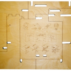 'Emergency Stool' By d.e. Sellers made from a laser cut panel of Baltic Birch plywood. Can be displayed as a wall covering or broken apart and assembled into a stool, just follow laser etched graphic instructions.
