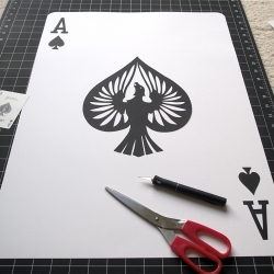 Video of 2 foot hand-cut giant playing cards by Emmanuel Jose.