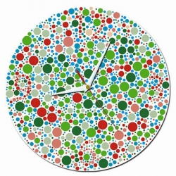 """""""The clock I can't see"""" is a colorblind wall clock. If you look carefully you can see the numbers, or is that your brain playing tricks on you?"""