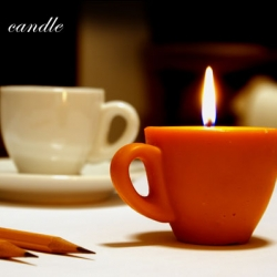 Coffee candle made from coffee cup for using in cafe.