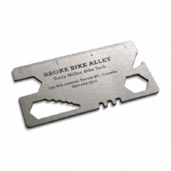 Great business card design for Broke Bike Alley by Rethink! Place it in your wallet and use it as a multifunctional bike tool or to open your beer. Wait, there's also a tire patch version.