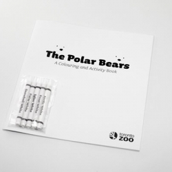 Pick your white and color the polar bears in a whole white world! The Polar Bears coloring book from Toronto Zoo. 20 pages to color and 5 crayons (snowball white, polar white, frost white, igloo white and the popular Arctic white).