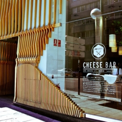 The main concept in the Poncelet Cheese Gastro-Bar in Madrid, Spain. is based on the care of nature, and the use of materials and products that respect it.