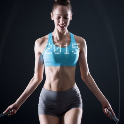 Smart Rope is an LED-embedded jump rope that works with your smartphone, displaying fitness data in mid-air, right before your eyes.