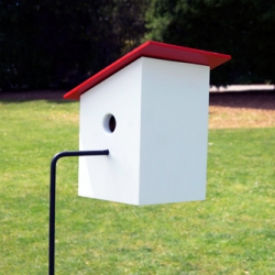 Designer Jeff Young simplifies the birdhouse by combining the perch and stand into a single feature.