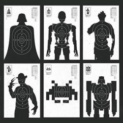 Shoot The Baddies target practice boards by Olly Moss...