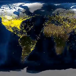 Check out this video displaying 24 hours of large aircraft flights in the world, condensed into 2 minutes.