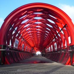 Amazing photo of Red Bridge in La Roche-sur-Yon designed by Paris and New York-based architect Bernard Tschumi.