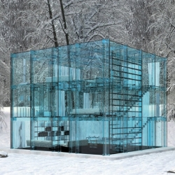 The Glass Home is a collaboration between founder Carlo Santambrogio and designer Ennio Arosio featuring a series of iconic furniture pieces, beds, sofas and bookcases, along with architectural elements such as staircases and kitchens.