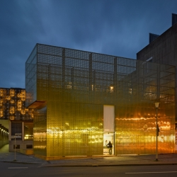 German architect modulorbeat has designed a striking perforated pavilion and created a new street images to the city.