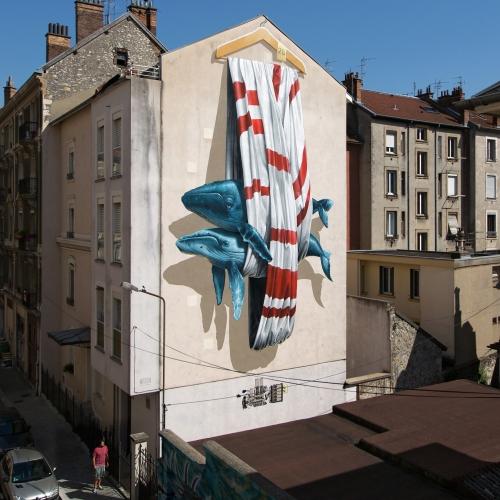 Ordering Machine mural painting by Nevercrew for Grenoble Street Art Fest 2016 in Grenoble, France.