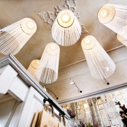 Floral shop in Odessa, Ukraine. Try to do white on white interior with floral motives.