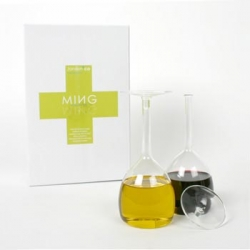Ming Oil & Vinegar set from Jansen + Co.  Looks like upside-down wine glasses...but looks can be deceiving!