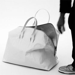 Interesting take on all of the reusable bags out there - a tyvek duffel bag by Stefan Diez - tearproof, lightweight, waterproof and recyclable.