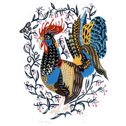 Happy rooster print by Caitlin Keegan. Benefits Farm Sanctuary, the nation's leading farm animal protection organization.