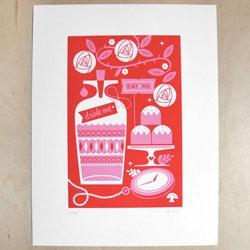 In honor of Tim Burton's Alice in Wonderland - a new print by Katie Kirk.