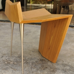 FASE stool, designed for the Mexican furniture brand VROK. Made in wood and stainles steel.