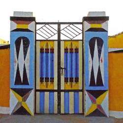 Vividly painted and highly symbolic entrances of the Nubian people houses in Sudan