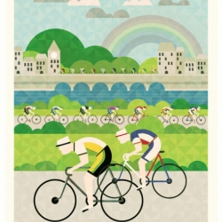 Enjoy biking with these colorful Tour de France posters by Crayonfire.