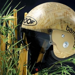 Green roof for your head!! Bamboo  motorcycle helmet.
