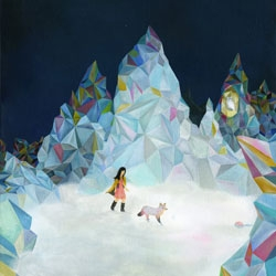 New print by Linda Kim - Wanderlust - featuring a woman and her dog wandering in crystalline mountains...