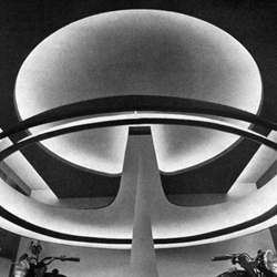 Exquisite black and white photography of the Fair of Milan in 1955. Featuring avant-garde architecture and design—modernist and futurist exhibit design.