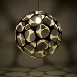 The Borealis lamp-shade is the result of experiments with computer design and CNC manufacturing. Each Borealis lampshade comprises machine cut components, which are assembled and finished by hand in the Lazerian studio.