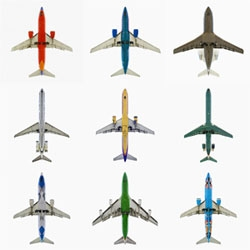 Jeffrey Milstein's photographs are taken precisely at the moment that an aircraft is overhead, decontextualizing the cruciform shapes of jet aircraft and exploring the beauty of their forms and graphic designs.