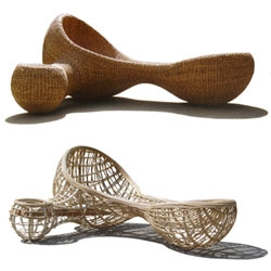 PIE studio (aka Project Import Export) makes very interesting hand-crafted furniture out of a series of natural materials - water hyacinth, liana, bamboo