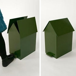 Greenhouse by Jantze Brogård Asshoff - a sweet little trash can shaped like a house.