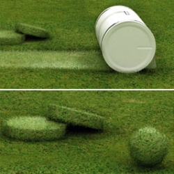 Four Korean university students designed the Muwi - an innovative lawn mower that makes mowing the grass fun. As the grass gets cut, the Muwi compresses the cuttings into either a ball or a cylindrical block. Perfect to play with or use to decorate your lawn.