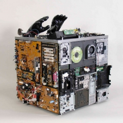 Citizen Cube is the work of artist Brenda Guyton, who creates sculptures from found computer parts.
