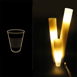 """Peter Castellucci's Garbage Lamp - a fixture made out of """"used, compulsively collected polystyrene drinking cups""""."""