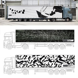 Chris Gray of We Shall See won Freitag's Design-A- Truck competition. In keeping with Freitag's recycling philosophy, Gray's tarpaulin will be cut up and made into bags. 2nd and 3rd place went to André-Alexander Glesemann and Anna-Paula Henschke.