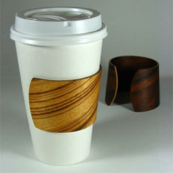 Contexture Design's Bentwood coffee cuff - dual purpose jewelry for your arm and your coffee cup.