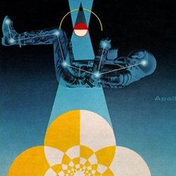 """Apollo"" and other 1960s space age illustrations by design legend Matthew Leibowitz for General Dynamics."