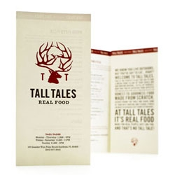 Pretty packaging by Duffy & Partners for Tall Tales Restaurant (part of the Gander Mountain outdoor lifestyle products and services network). Love the deer antler logo.