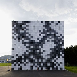 Interesting pixelated facade by Splitterwerk for the Prisma Engineering. The interiors are worth a look, as well.