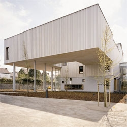 Love the cantilevered portion of the new addition to the Museum of Photography in Charleroi, Belgium, by l'Escaut.