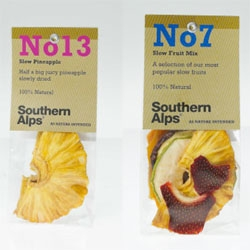 Gorgeous minimal packaging for Southern Alps lets the dried fruit sell itself.