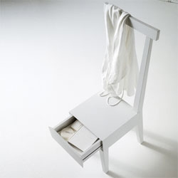 Usona's Moheli Wooden Chair with a drawer - living in New York City, I need storage wherever I can get it.
