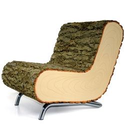 Belgium-based Draw Me a Sheep upholstered their Nature v2.01 chair in real tree bark.
