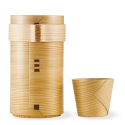 Shunji Kurimori's beautiful Cedar Sake Cups and Cedar Sake Bottle, made in the Japanese wood craft style Magewappa.